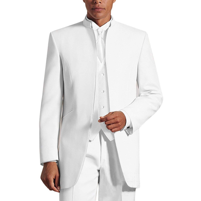 YBang Men's Long Suit Jacket 3 PC Regular Fit Solid Tuxdeo Suit Jacket Vest Flat Front Pants(White,44R)