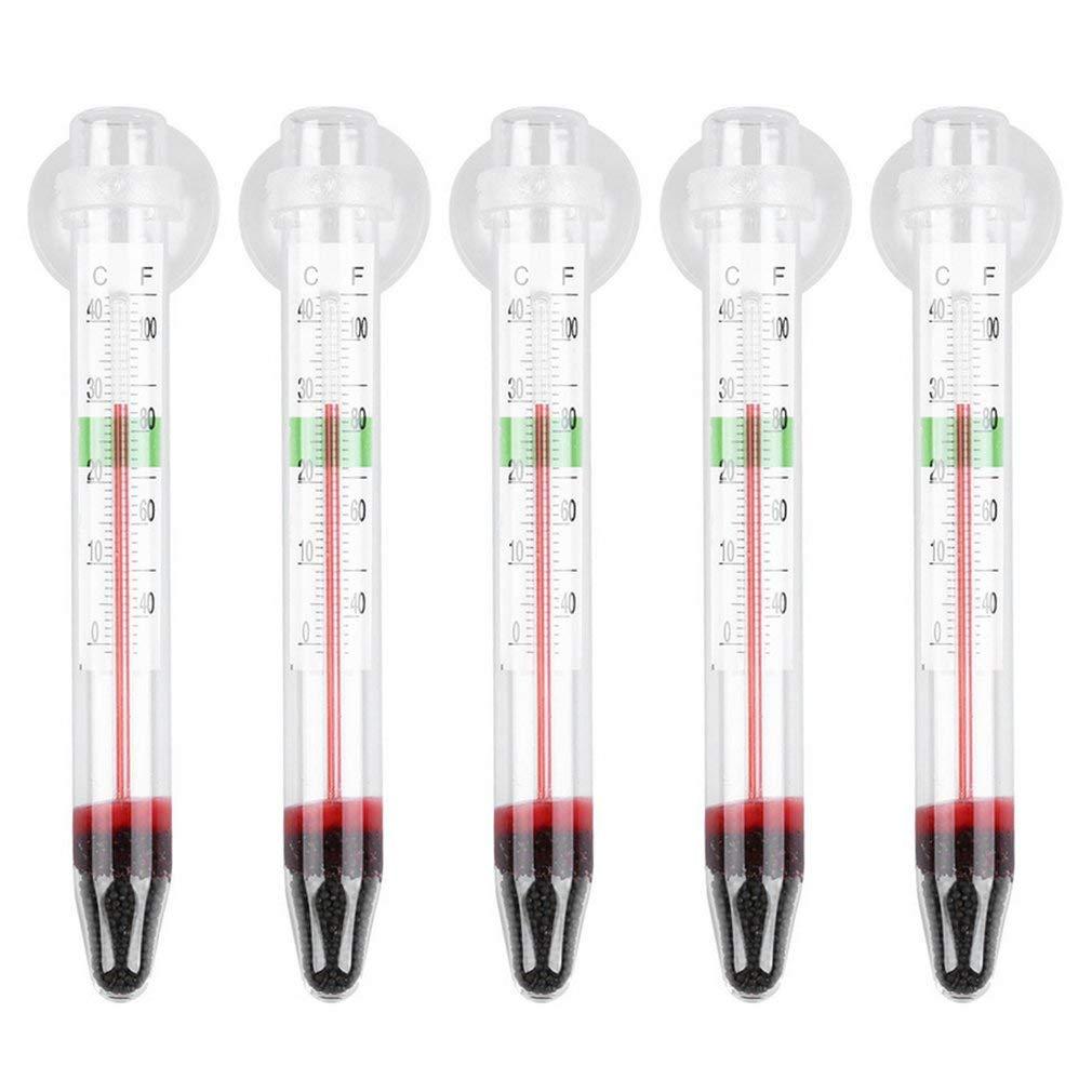 Ndier 5 pièces ZY-01 en Verre Compteur de Poissons d'aquarium en Verre Réservoir d'eau Thermomètre de température Produits pour Animaux Domestiques