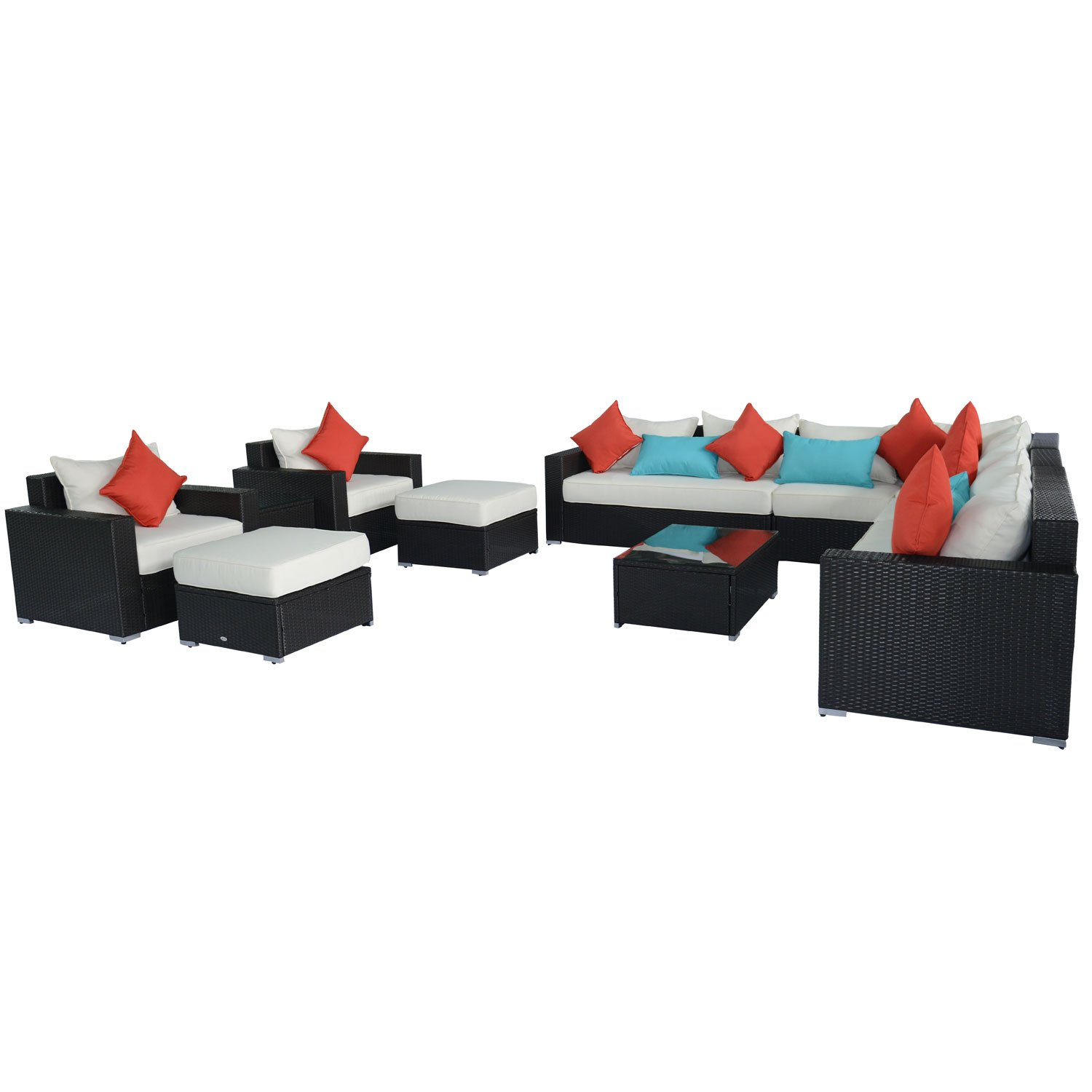 Outsunny 13 Piece Outdoor Rattan Wicker Sectional Sofa Furniture