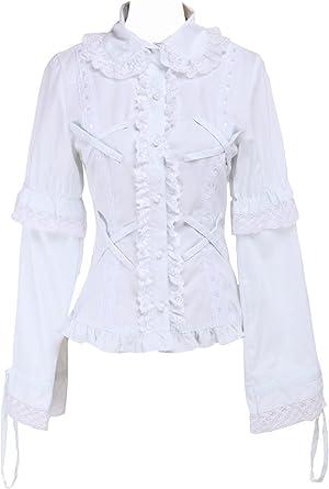 Blanca Algodón Volantes Encaje Kawaii Vintage Victoriana Lolita Camisa Blusa de Mujer: Amazon.es: Ropa y accesorios