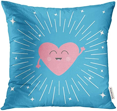 djydky Throw Pillow Cover Pink Heart