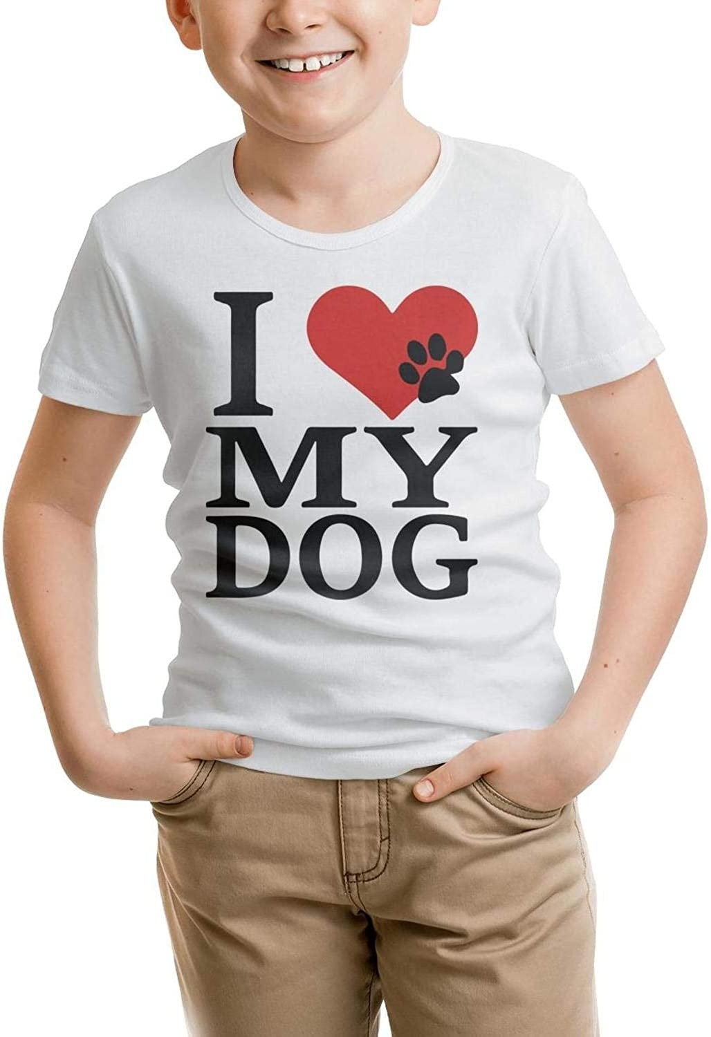 Kids T-Shirt Casual Novelty I Love My Dog Foot paw T Shirt 100% Cotton Washed Comfortable Gift for Child T-Shirt 6165EI%2BfIyL