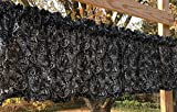 Black & White Leaf Paisley Chalkboard Print Handcrafted Curtain Valance For Sale