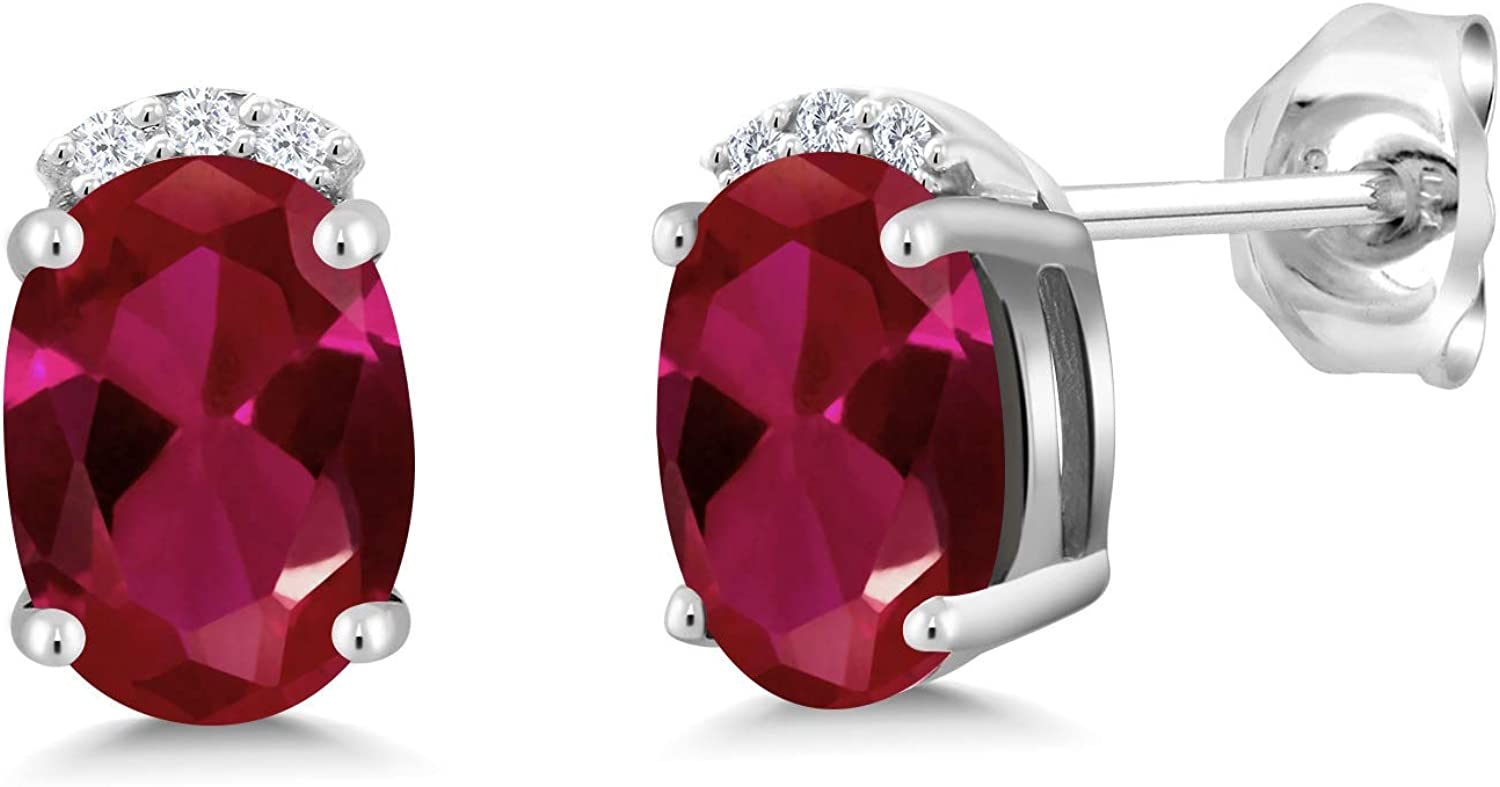 Sterling Silver Oval Ruby and Diamond Earrings