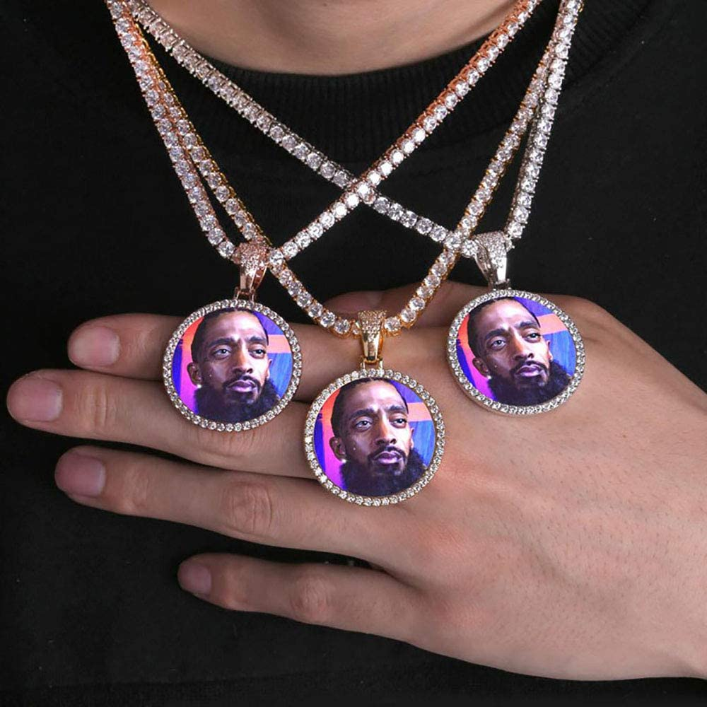 Custom Iced Out Photo Memory Pendants Charm Medallions Necklace Personalized Round Silver Gold With Rope Tennis Chain Hip Hop Rapper Necklace For Men Amazon Ca Clothing Accessories