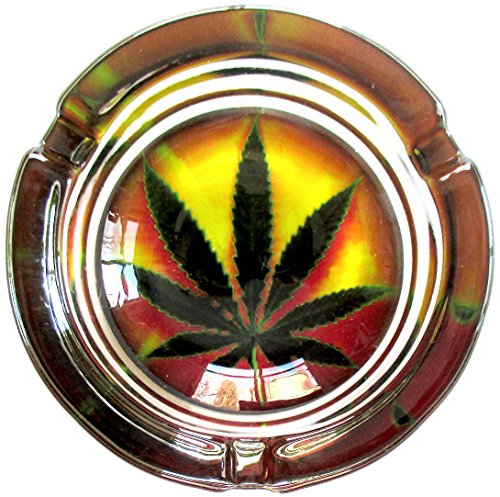 Marijuana-Weed-Psychedelic-Style-Round-Glass-Ashtray