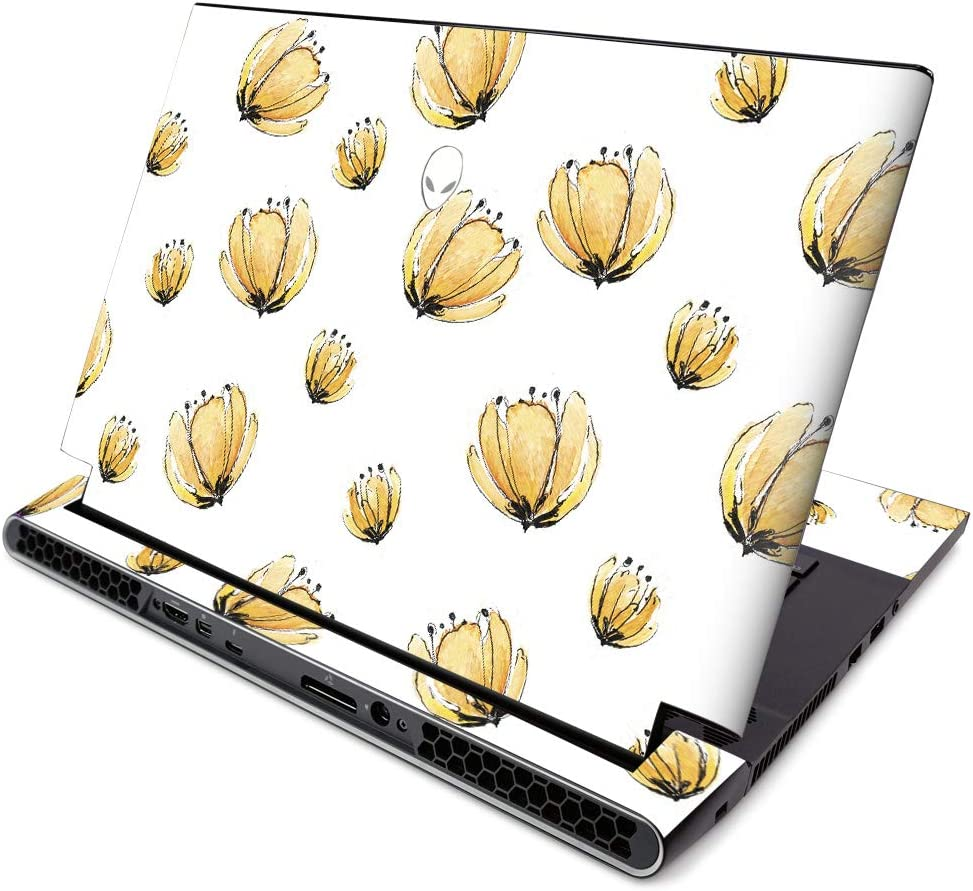 MightySkins Skin for Alienware M15 R2 (2019) - Yellow Poppy | Protective, Durable, and Unique Vinyl Decal Wrap Cover | Easy to Apply, Remove, and Change Styles | Made in The USA