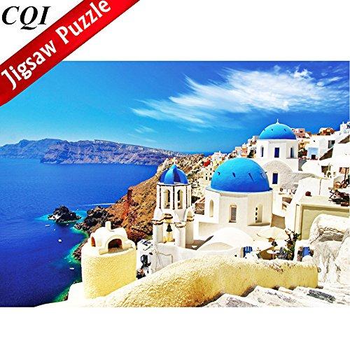Jigsaw Puzzles 1000 Pieces Puzzles for Adults - Dreamy Aegean Sea Greece Santorini Landscape Puzzle
