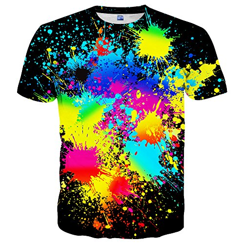 Hgvoetty Men Boy Creative Art Colorful Print Tees Shirt Short Sleeve Crew Neck T Shirt ()