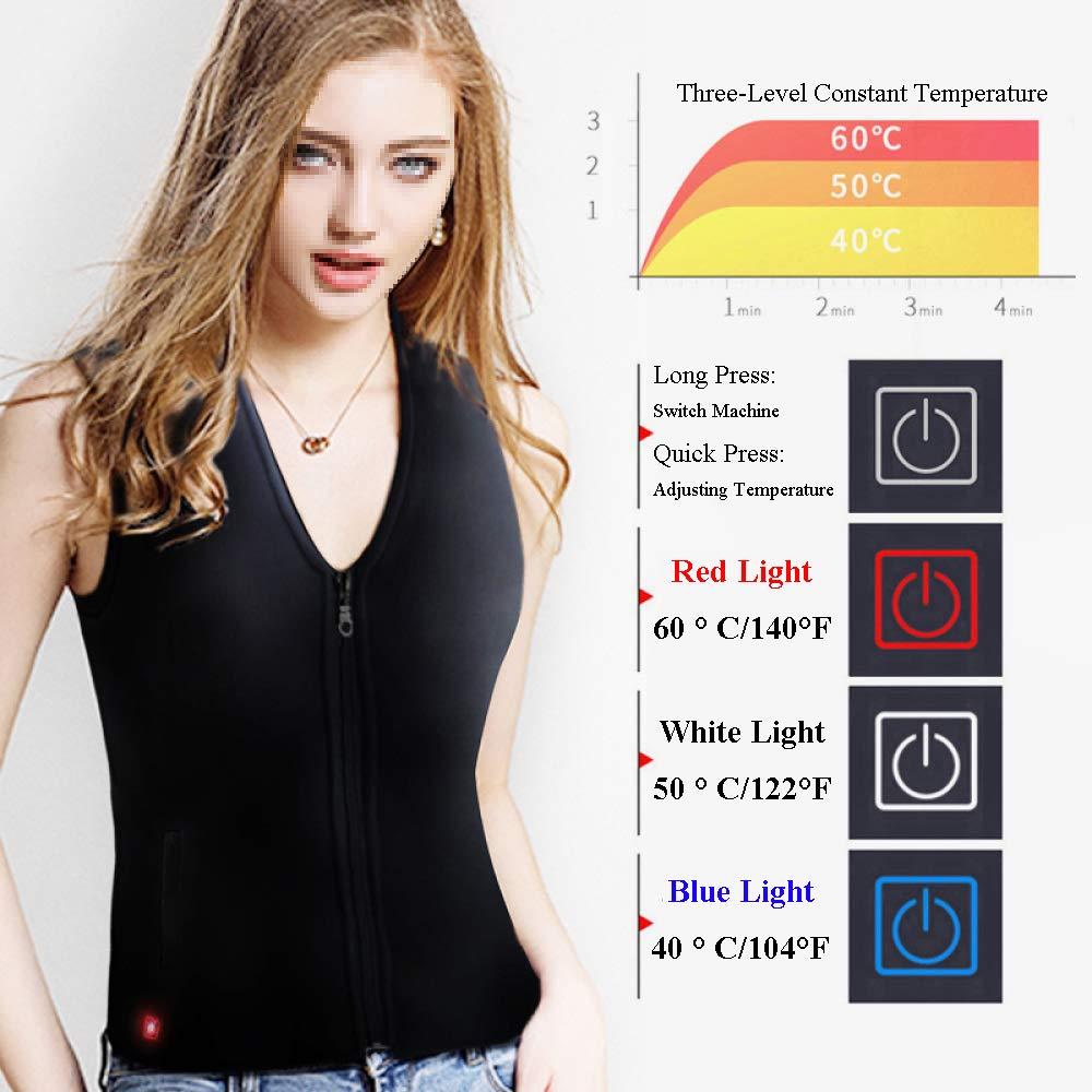 Gilet//Giacca Riscaldante Elettrico da Donna Nero//Rosso Lavabile ,Black-L Gilet A Corpo Caldo con Cavo USB
