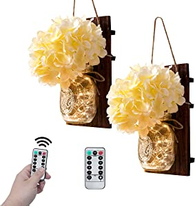 VIEFIN Mason Jar Sconces Wall Decor,Rustic Wall Sconces Home Decor with Remote Control, Silk Hydrangea,Brown Wood Board and LED Strip with 20 Fairy Lights(2 Pack, Beige)