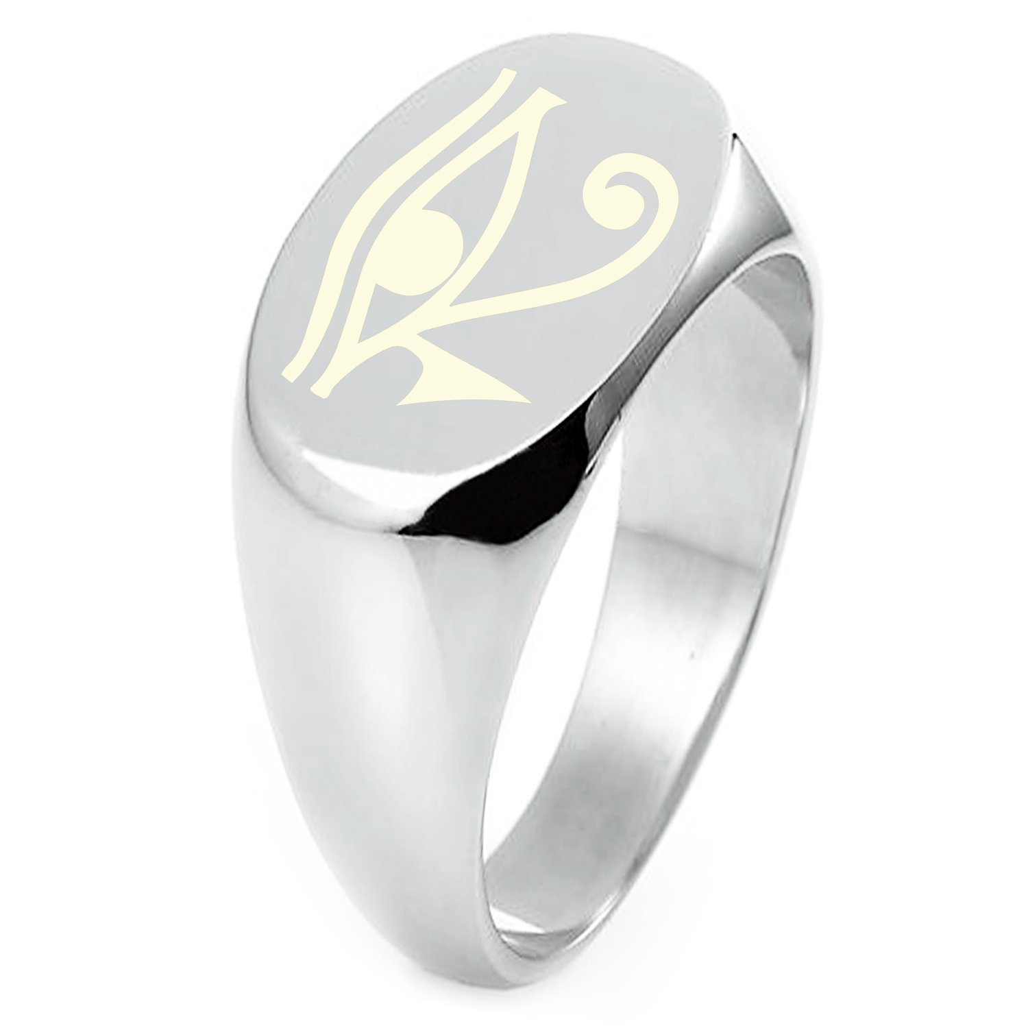 Sterling Silver Egyptian Eye of Horus Symbol Engraved Oval Flat Top Polished Ring, Size 6