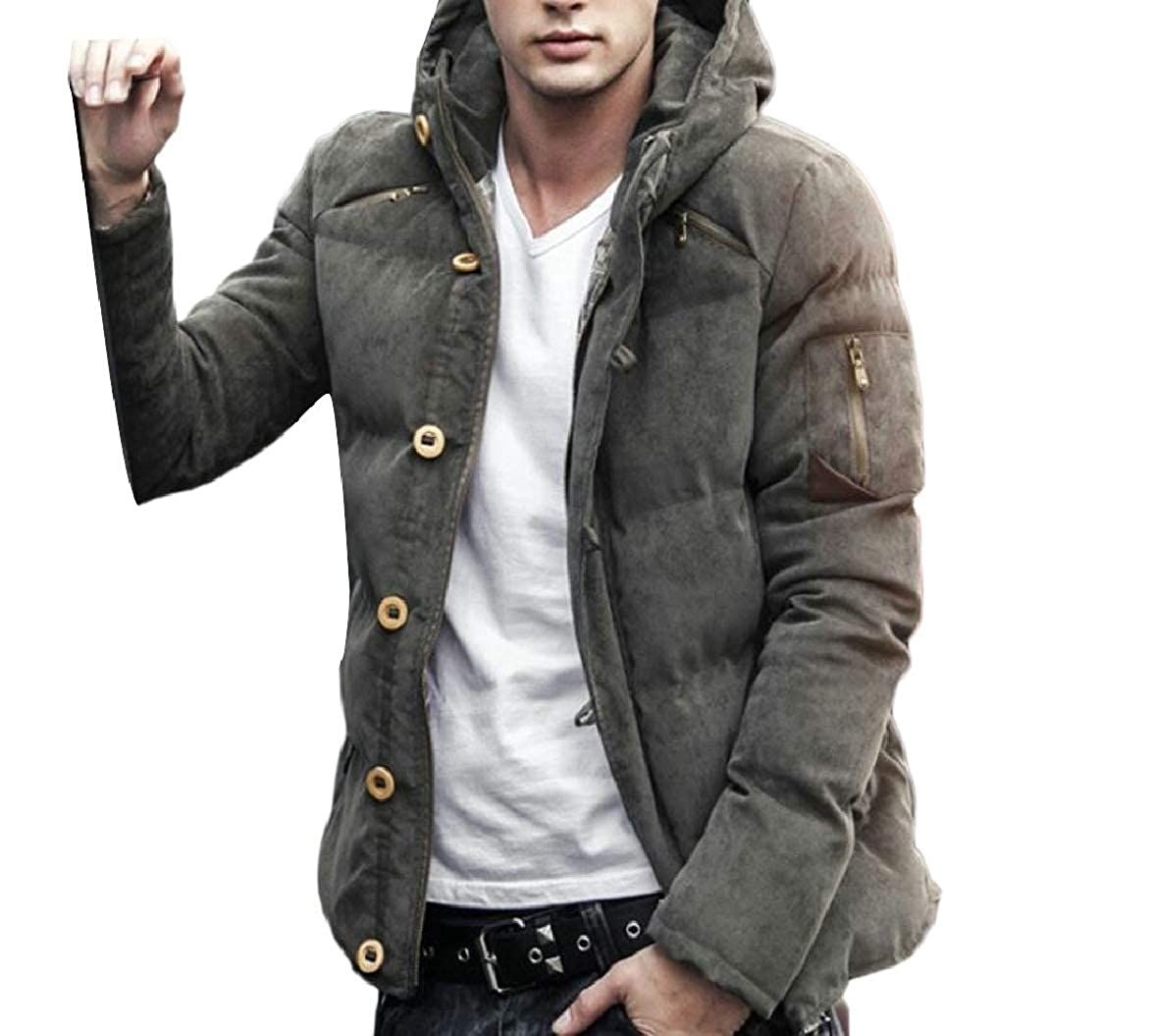 Smeiling Men Thicken Warm Hooded Quilted Corduroy Padded Coats Puffer Jacket