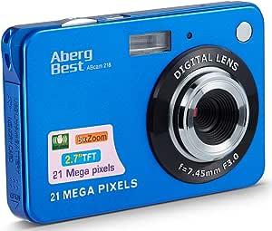 Compactas Cámaras Digitales AbergBest 2.7 LCD Recargable HD Cámara Digital para Estudiantes, niños, Adultos Interior y Exterior (Azul)