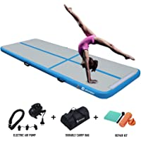 AKSPORT 10ft Air Track Tumbling Mat for Gymnastics Inflatable Airtrack Floor Mats with Electric Air Pump for Home Use Cheerleading Training