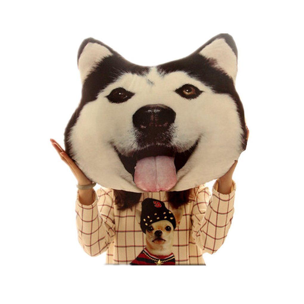 ASO-SLING 3D Back Seat Cushion Animal Dog Cat Big Pillow Sofa Husky Doge Face Car Cushion