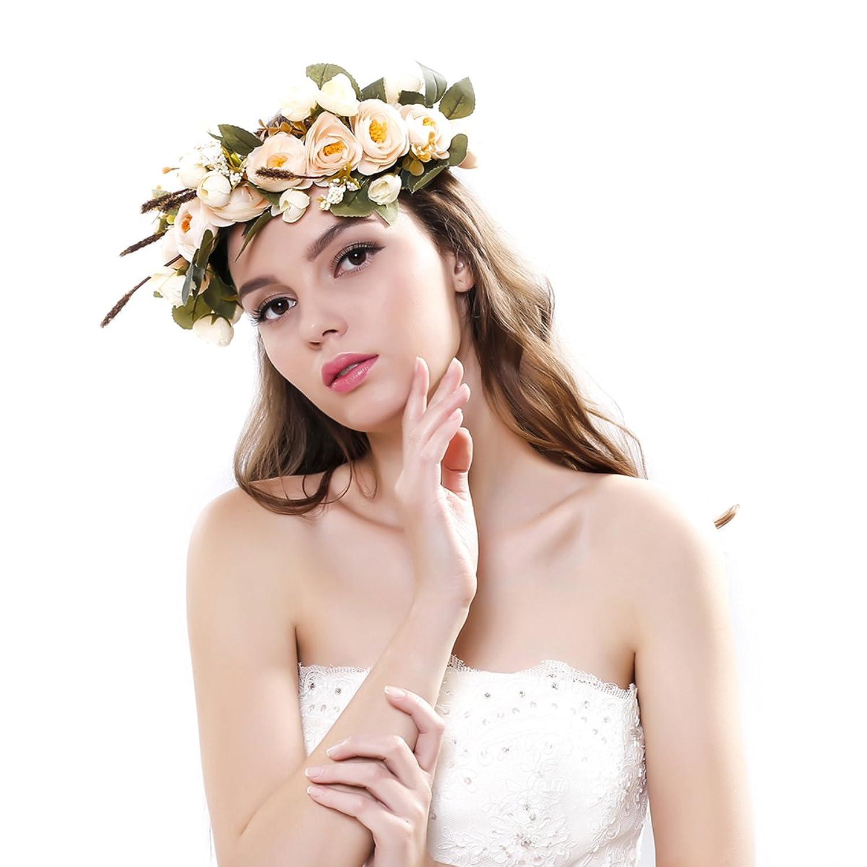 Amazon women handmade rose flower crown with adjustable ribbon amazon women handmade rose flower crown with adjustable ribbon wedding festivals beauty izmirmasajfo