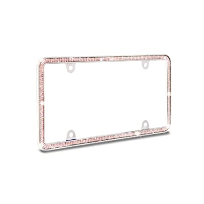 JR2 Sparking Double Row Crystal Metal License Plate Frame (Pink)+Free Screw Caps: Automotive