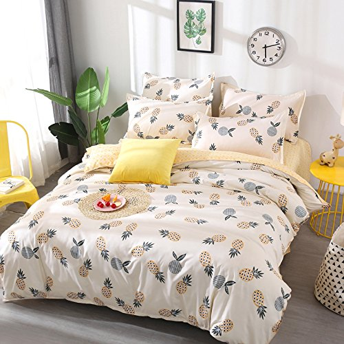 Kimko Kids Pineapple Bedding Set - Fresh Soft Bedding Collection - Yellow Pineapple Green Leaves Pattern White Cover -4Pcs -1 Duvet Cover Set + 1 Bed Sheet + 2 Pillowcases (Tree Pattern Lemon)