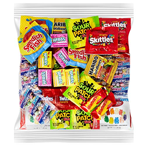 Your Favorite Party Candy - 2 Full Pounds of Sour Patch, Swedish Fish, Haribo & Albanese Gummy Bears, Skittles, Twizzlers, Nerds, Gobstoppers & Starburst.