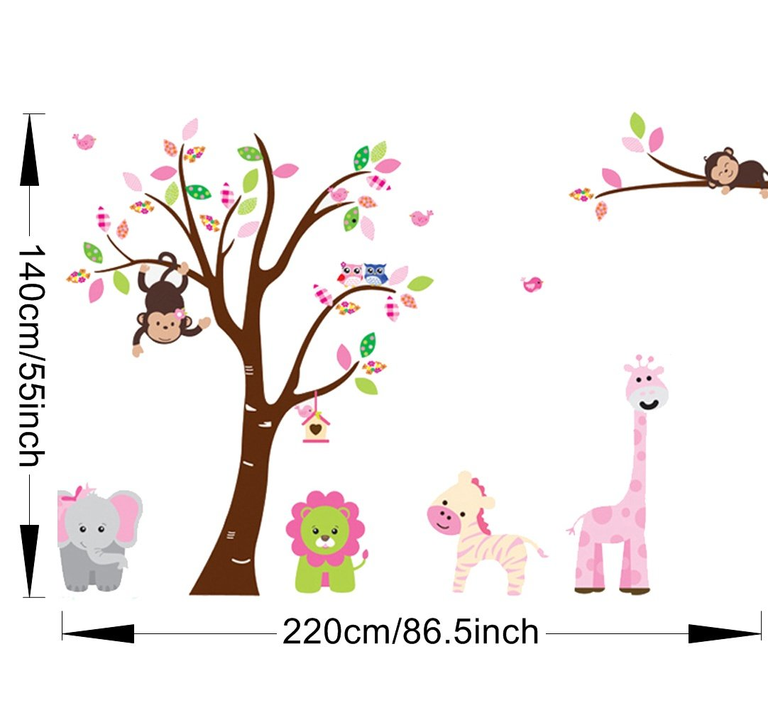 Amazon com cartoon cute monkeys big trees removable wall stickers home decor decals for childrens room nursery set of 2 sheets animal tree baby