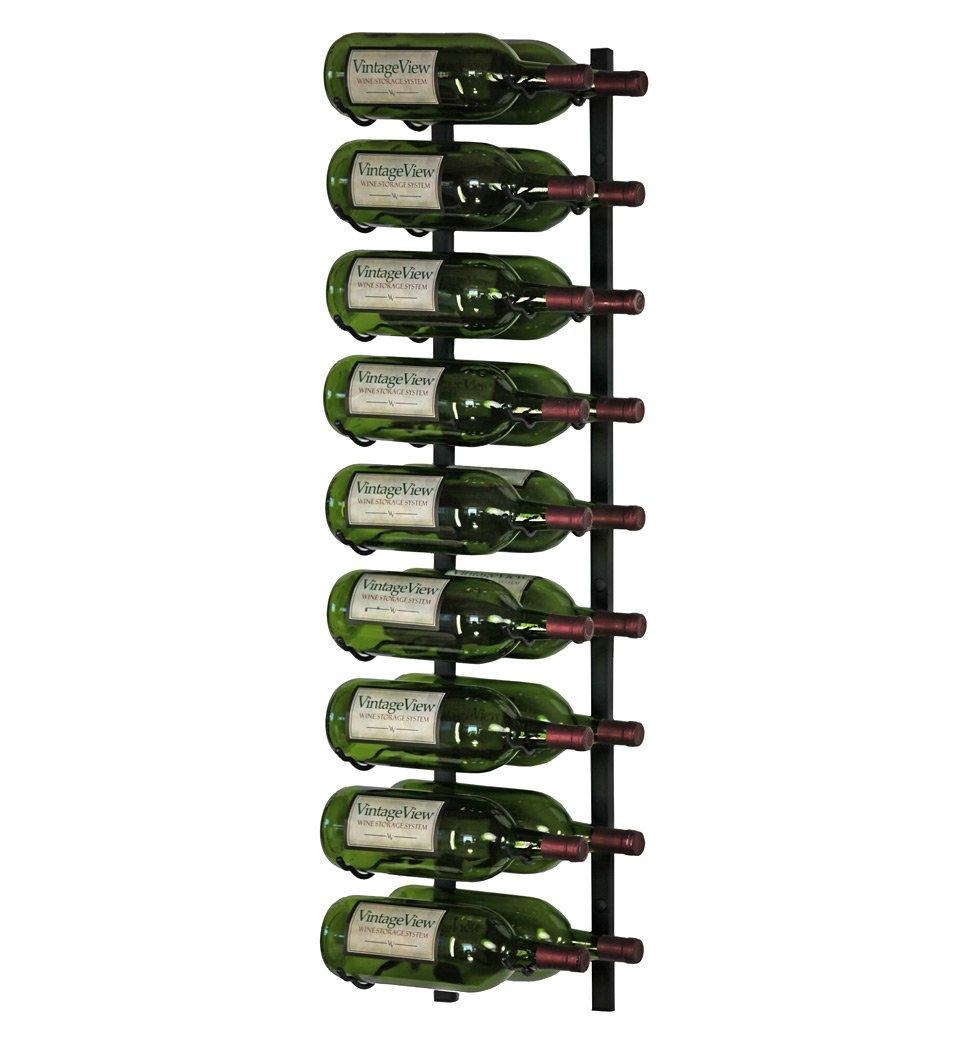 VintageView 18 Bottle Wall Mounted Metal Hanging Magnum Wine Rack (2 Deep - Black)