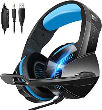 EASON Gaming Headphones Professional PC Gamer Headset,3.5Mm Wired Computer Virtual Surround Bass Ear with Mic Game Headset for Phone,Blue