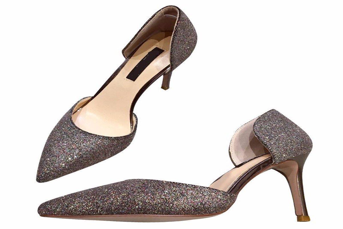 HBDLH-Damenschuhe Sommer Sexy Metallic Pailletten Hohle Flachen Sharp Hat Haare Hochhackige Schuhe 9Cm Frauen Ist Single.