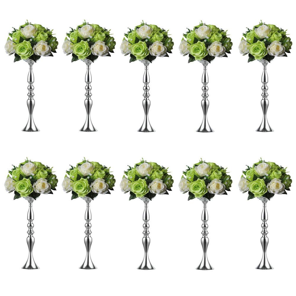 10 Pieces 50 Height Metal Candle Holder Candle Stand Wedding Centerpiece Event Road Lead Flower Rack (10Pcs/Set, 50cm, Silver)