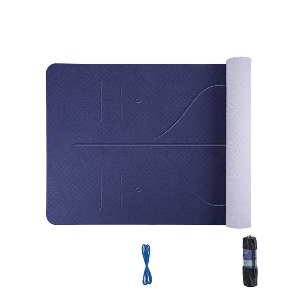 JianMeiHome Stuoia di Yoga Bicolore Bicolore Tappetino per Principianti allargato Ispessito Allungato Antiscivolo Pad Danza Posizione assistita Ginnastica stuoia (Colore   blu)