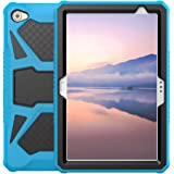 Foluu Compatible with Huawei MediaPad M5 Lite 10 Case, Heavy Duty Ultra Hybrid Silicone+Hard PC Bumper Full-Body Protective Shockproof Cover with Kickstand for M5 Lite 10 10.1 Inch 2018 (Blue+Black)