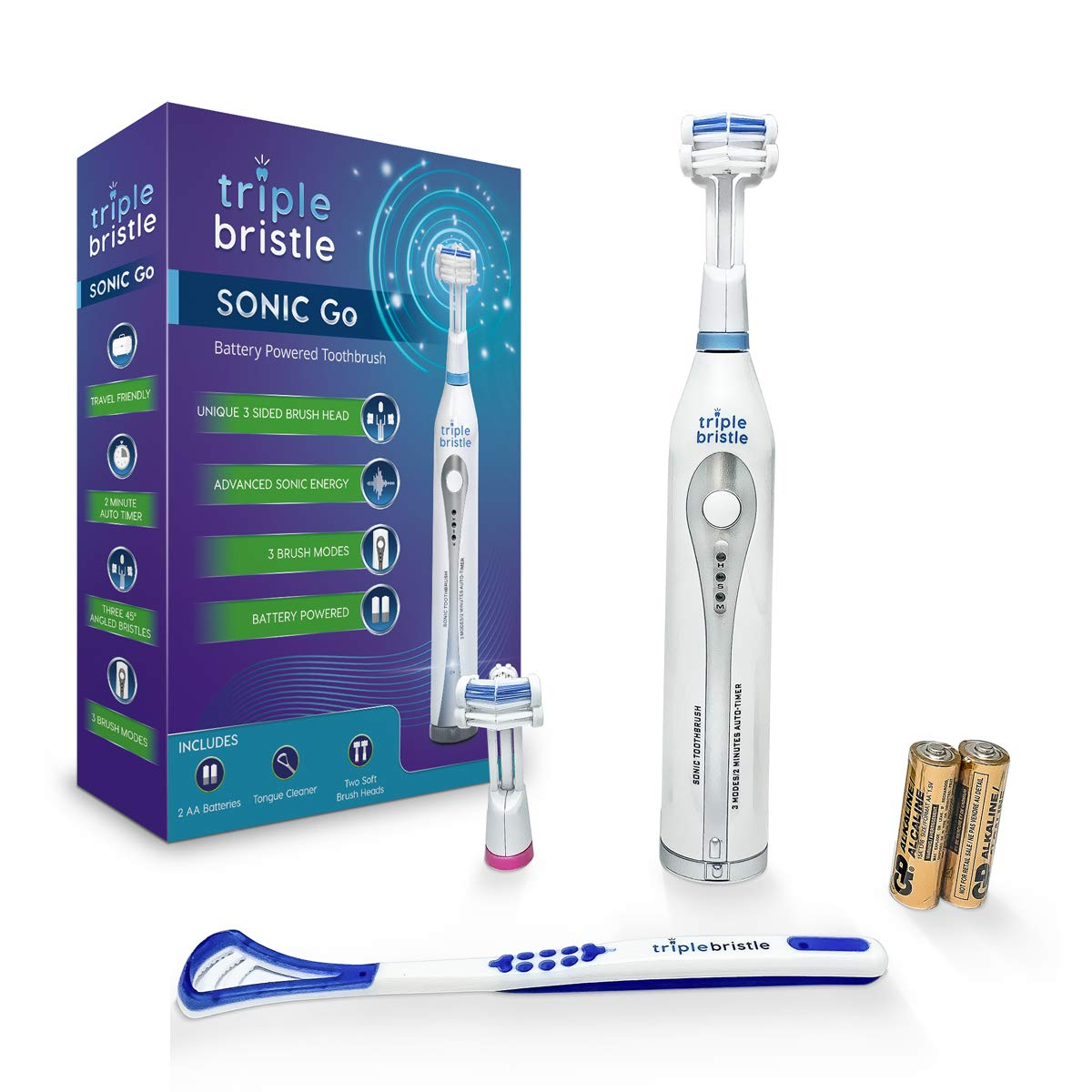 Triple Bristle Travel Sonic Toothbrush – AA Battery Electric Portable – Three Powerful Modes -Soft Nylon Bristles-Also For Autistic Special Needs Adults and Kids Triple Bristle Go