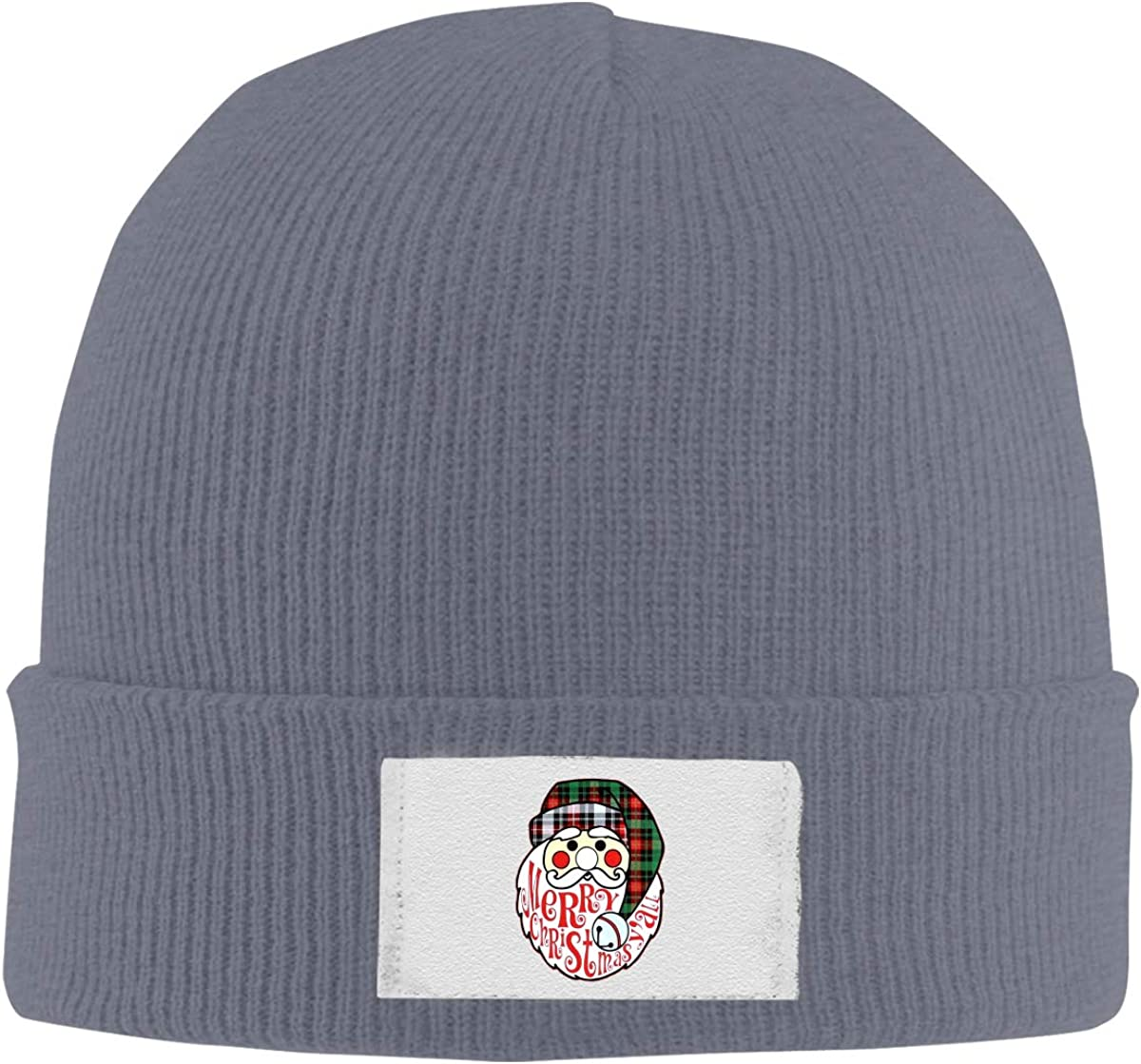 Stretchy Cuff Beanie Hat Black Skull Caps Plaid Santa Merry Christmas Winter Warm Knit Hats