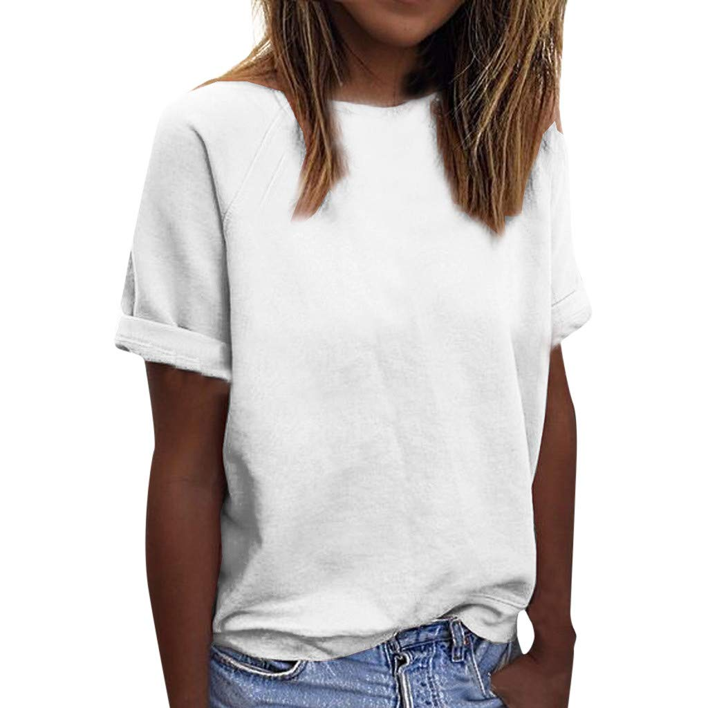 winsopee Women Casual Loose Cotton Tunic Tee Solid O-Neck T-Shirts Fashion Short Sleeve Plain Tanks Top Blouse