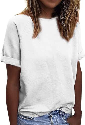 Camisetas para Mujer Manga Cortas Verano Tallas Grandes 2019 PAOLIAN Camisetas Casual Vestir Basicas Cuello Redondo Blusas Fiesta Mujer Elegante: Amazon.es: Ropa y accesorios