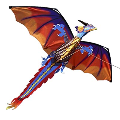 XLYS 3D Dragon Kite with Spiral Tail for Kids Adult Single Line with 100m Flying Line Easy to Fly: Toys & Games