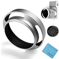40,5 mm ihålig linshuva, Fotover universal metall ihåligt ventilerad lutad böjd linshuva med mittnypslock för Canon…