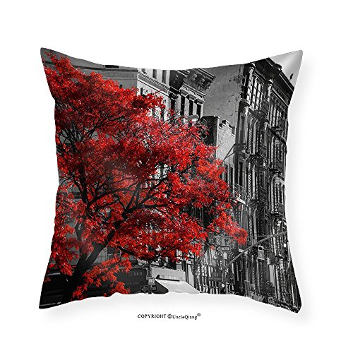 VROSELV Custom Cotton Linen Pillowcase Red Fall Tree in Black and White Nyc Street Scene on 2nd Avenue in the East Village of Manhattan New York City - Fabric Home Decor (East King Storage)