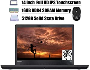 "Lenovo ThinkPad T470 2020 Flagship Laptop, 14"" FHD IPS Touchscreen, Intel Core i7-6500U 2.5GHz, 16GB DDR4 512GB SSD, Thunderbolt Fingerprint Backlit KB WiFi HDMI Win 10 Pro + ePark Wireless Mouse"