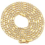 "LoveBling 10K Yellow Gold 2mm Pave Two-Tone Figaro Hollow Chain Necklace with White Pave Diamond Cut, Lobster Lock (18"" to 30"")"