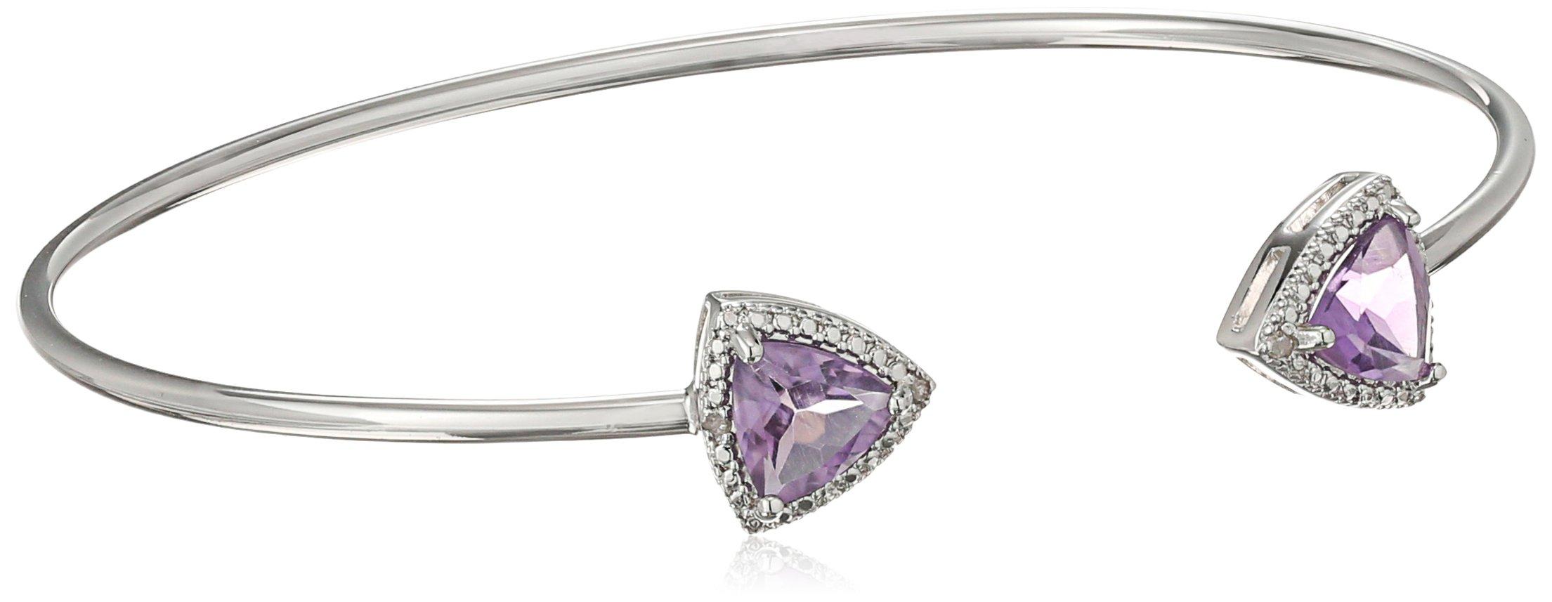Amethyst and Diamond with Rhodium Plating Bangle Bracelet