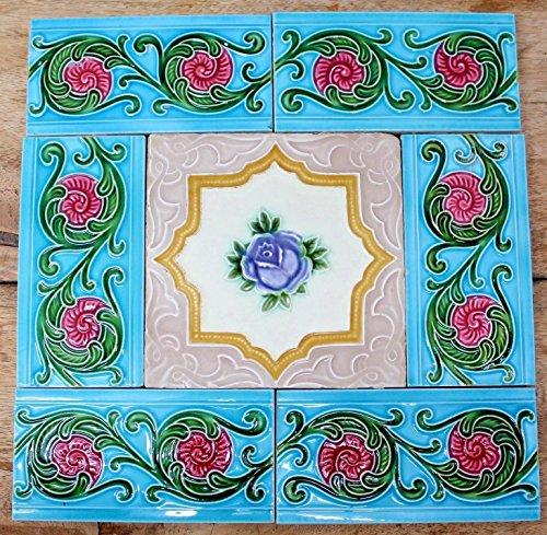 Vintage Set of Rose Flower & 6 Border Design Art Nouveau Majolica Tiles JAPAN