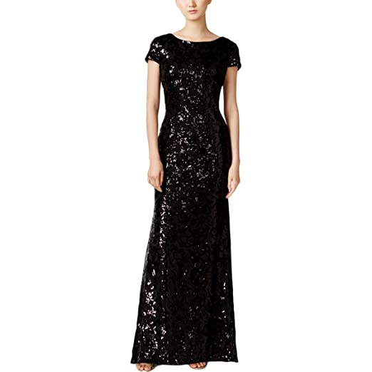 d29d1493bb10f Calvin Klein Womens Mesh Sequined Semi-Formal Dress Black 12 at ...