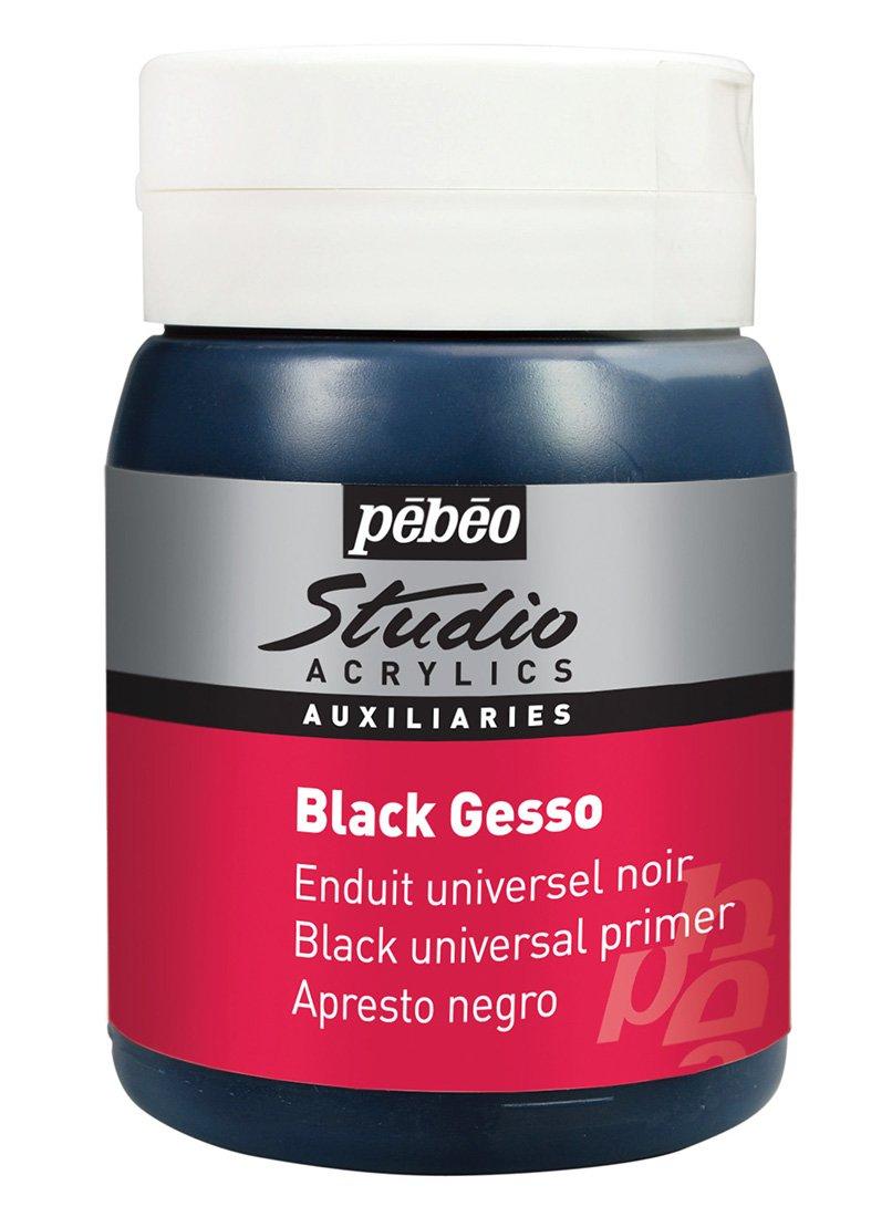 Pebeo - Ausiliare per acrilico a base di gesso, 500 ml, colore: Nero 524135