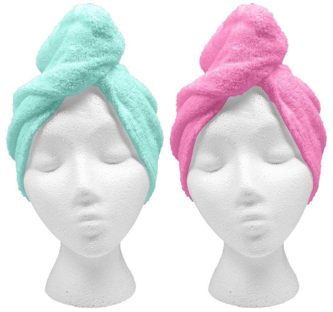 Turbie Twist XL Hair Towels (2 Pack) Extra Large Pink, Aqua by Turbie Twist