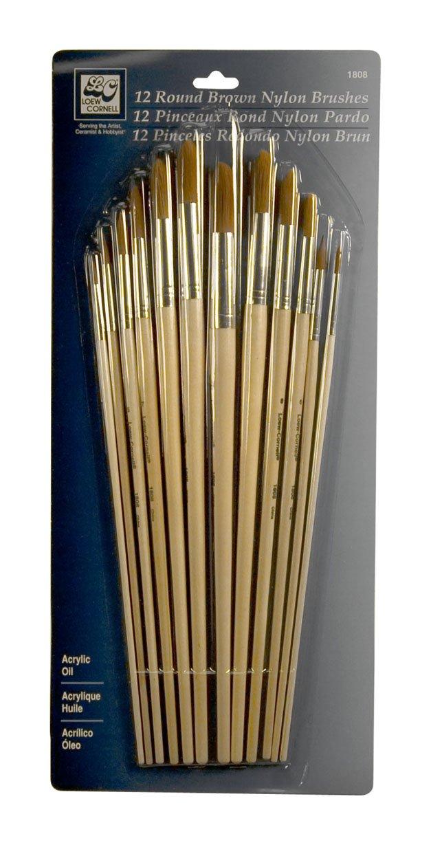 Loew-Cornell Nylon Brush Set, Round, Brown, 12-Pack by Loew-Cornell
