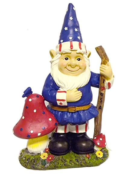 Gnome Patriotic Garden Statues Whimsical Yard Lawn Flower Bed Sculpture  Accent Americana Decoration
