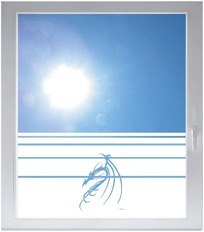 INDIGOS UG Sichtschutzfolie Glasdekorfolie Fensterfolie mit Motiv satiniert Blickdicht - w074 Drachen Drache - 1000 mm Länge - 500 mm Höhe Viereck