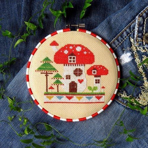 - Mushroom House Cross Stitch Pattern - Chart Only