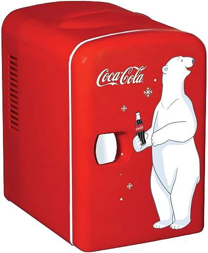 Coke Mini Fridge Coca-Cola Small Refrigerator Soda Home Office Vintage Retro Red